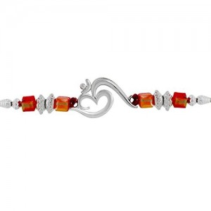 Mahi Red colored Silver OM with Crystals and Beads Rhodium Plated Rakhi (Raksha Sutra) BR1100547R
