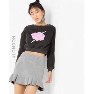 Glamorous Black Graphic Print Crop Sweatshirt