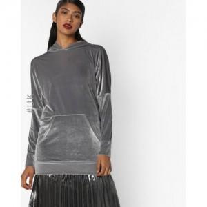 INFLUENCE Gray Hooded Sweatshirt with Kangaroo Pockets