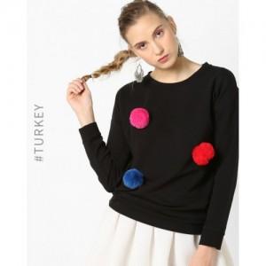 TRENDYOL Black Sweatshirt with Pom-Poms