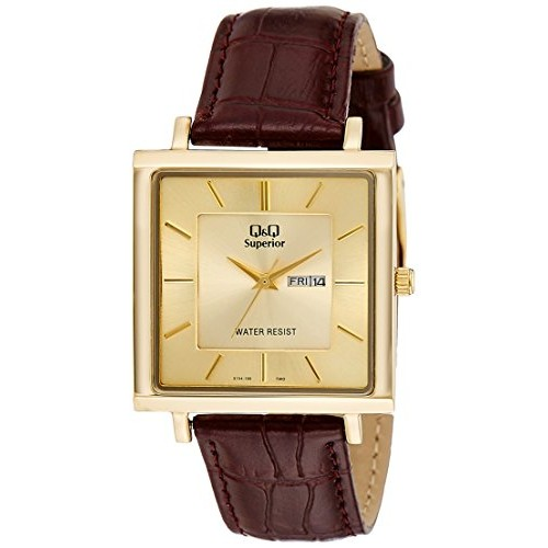 Q&Q Day and Date Analog Gold Dial Men's Watch - S194-100Y