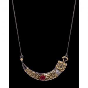 Voylla Red Stone Adorned Geometric Motif Necklace
