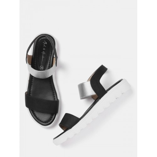 Mast & Harbour Women Black & Silver-Toned Flats