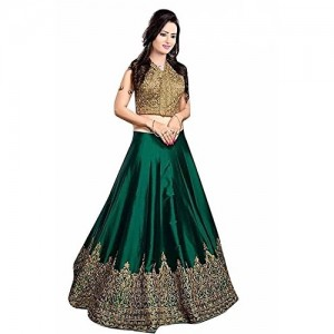 Ethnic Vila Green Tapeta Silk Semi Stichhed Lehenga Choli