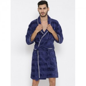 ELLE DECOR Unisex Blue Self-Striped Bathrobe
