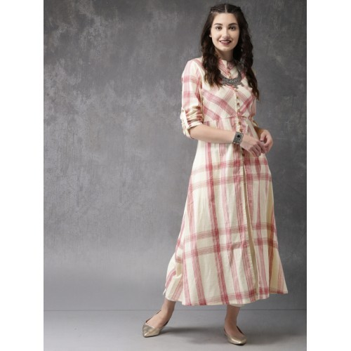 Anouk Beige Checked A-Line Kurta with Front Slit