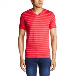 Chromozome Red Poly Cotton Striped Men's T-Shirt