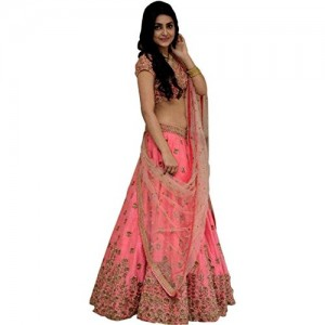 Peach Silk Embroidered Lace Work Lehengas
