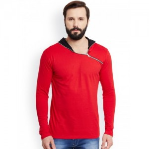GRITSTONES Men Red Cotton Solid Hooded T-shirt