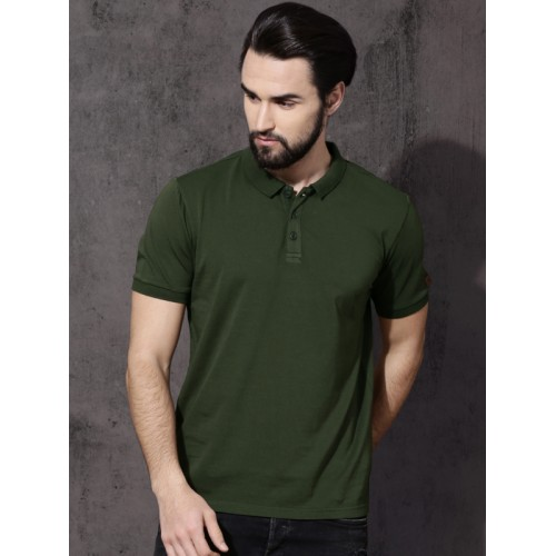292013306f103b Buy Roadster Men Olive Green Solid Polo Collar T-shirt online ...