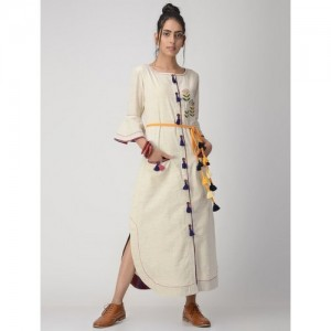 VRITI Ivory Hand-Embroidered Handwoven Button-Down Cotton Flax Dress