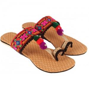 Rangmor Multi Color Synthetic Slip-on Flats Ethnic Chappals