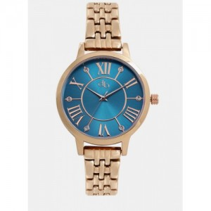 Dressberry Golden/Blue Metal Analog Watch