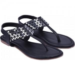 Jade Black Flat Casual Sandal
