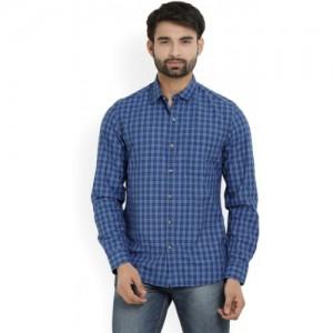 John Players Men's Checkered Casual Blue Shirt