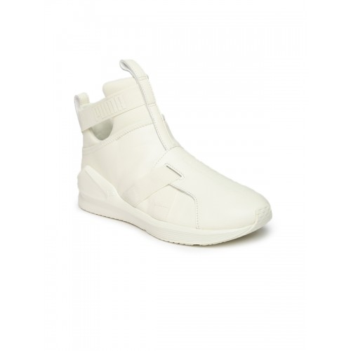 0a4e96920b55 ... Puma Women White Leather Mid-Top Fierce Strap Training or Gym Shoes ...