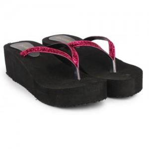 Shoetopia Women Pink & Black Synthetic Wedges