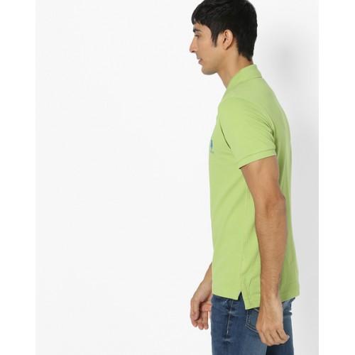 U.S. Polo Assn. Men Green Solid Polo Collar T-shirt