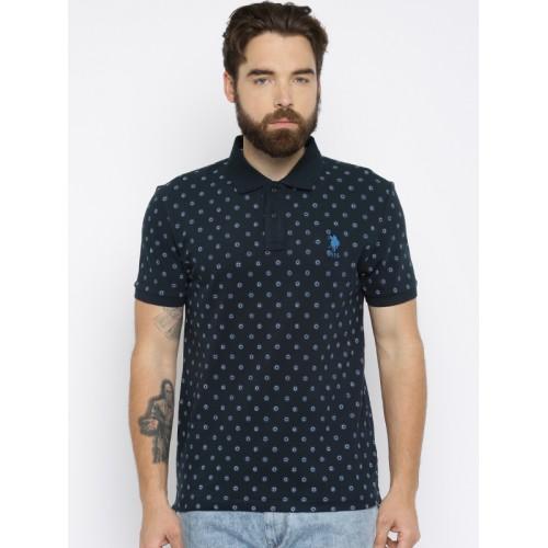da2bf8b7 Buy U.S. Polo Assn. Men Navy Blue Printed Polo T-shirt online ...