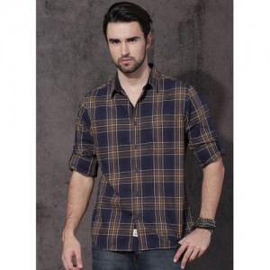 Roadster Navy Blue Checked Casual Shirt