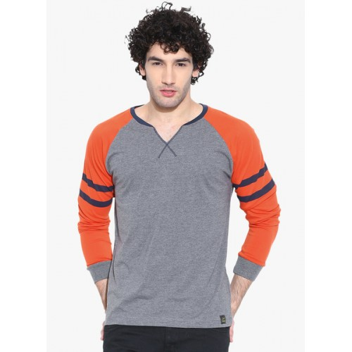Cult Fiction Grey Milange Solid Henley Neck T-Shirt