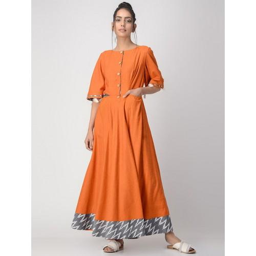 VRITI Orange Handwoven Cotton Solid Kurta with Tassels