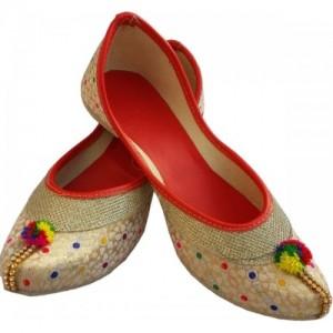 Gunina Golden Synthetic Slip-on Handicrafts juti