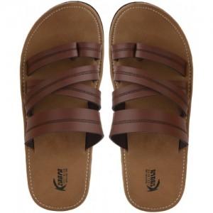 KZAARA Brown Leather Slip-on  Chappals