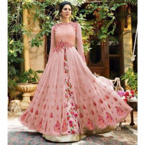 Fashion Care Pink Floral Embroidered Lehenga