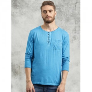 Breakbounce Aqua Blue Solid Henley T-Shirt