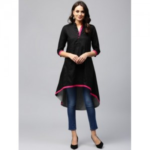 AKS Black Solid Woven Design C Cut Kurta
