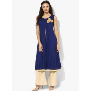 Aks Navy Blue Solid Kurta with High Front Slit