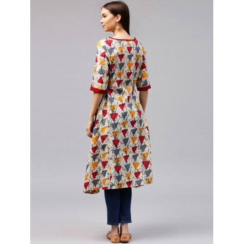 6d9f175ae Buy AKS Women Multicoloured Woven Design A-Line Kurta online ...