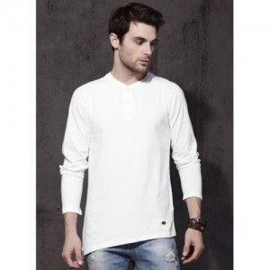 Roadster White Solid Henley T-Shirt