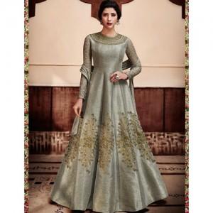 Fstore Grey Color Embroidered Designer Anarkali
