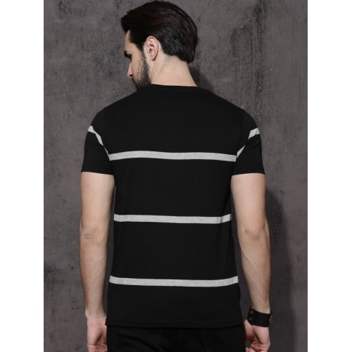 Roadster Black Striped Round Neck T-shirt
