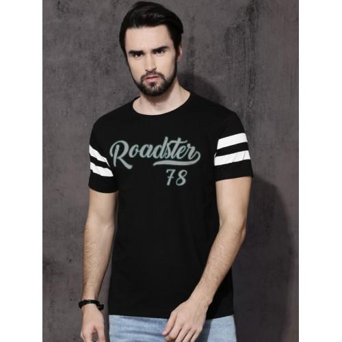 1cfc9250b8c9 Buy Roadster Men Black Printed Round Neck T-shirt online | Looksgud.in