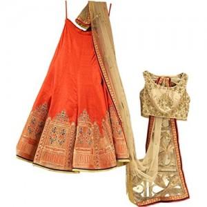 StyleVilla Orange  Heavy Embroidered Silk Lehenga