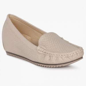 GINGER Cream Synthetic Loafer-Inspired Heels