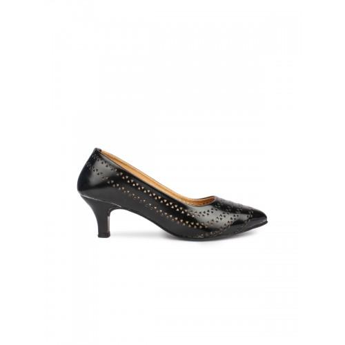 Shoetopia Women Black Heels with Cut-Outs