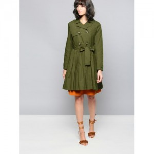 NUSH Women Olive Green Solid Tailored Longline Jacket