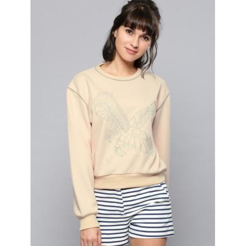 NUSH Women Peach-Coloured Self-Design Sweatshirt