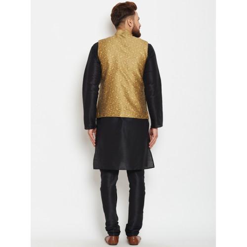 Buy Sojanya Black Gold Toned Dupion Silk Self Design Kurta Pyjamas
