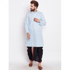 SOJANYA Turquoise Blue & Black Cotton Solid Kurta with Dhoti Pants