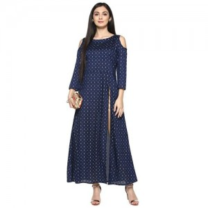 Ziyaa Blue Poly Silk Kurta