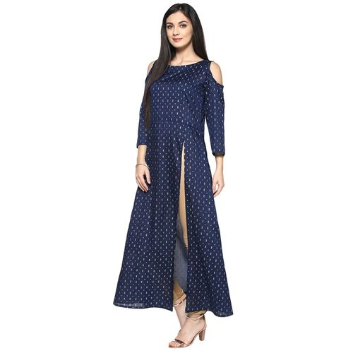 Ziyaa Blue Poly Silk Kurta