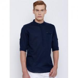 LOCOMOTIVE Men Navy Blue Slim Fit Solid Casual Shirt
