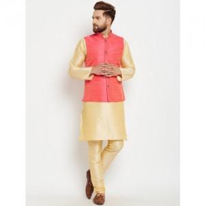 SOJANYA Men Gold-Toned & Pink Self Design Kurta with Pyjamas