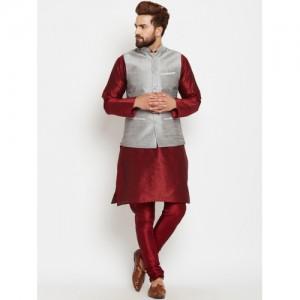 SOJANYA Men Maroon & Grey Self-Design Kurta with Churidar and Nehru Jacket