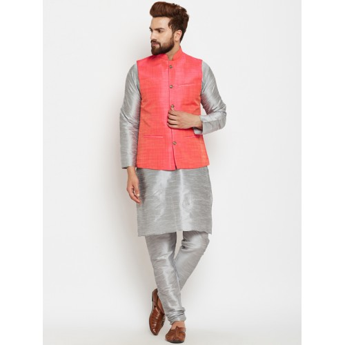 13c512373 Buy SOJANYA Men Grey & Pink Self Design Kurta with Pyjamas and Nehru ...